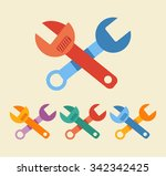 vector colorful wrench flat...