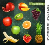 fruits  set of vector... | Shutterstock .eps vector #342351281