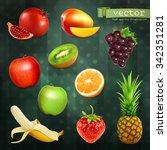 fruits  set of vector... | Shutterstock .eps vector #342351281