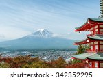 mt. fuji with fall colors in... | Shutterstock . vector #342352295