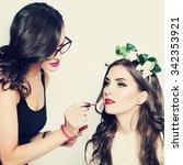 stage makeup. make up artist... | Shutterstock . vector #342353921