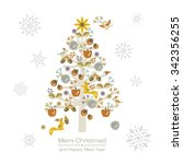 wonderful christmas tree with... | Shutterstock .eps vector #342356255