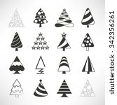 christmas tree icons set | Shutterstock .eps vector #342356261
