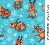 winter background with funny... | Shutterstock .eps vector #342357101