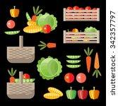 vegetable garden set. vector... | Shutterstock .eps vector #342357797