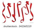 shiny red ribbon on white... | Shutterstock .eps vector #342365219