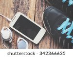 sports shoes with smart phone... | Shutterstock . vector #342366635