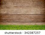 green grass over wood... | Shutterstock . vector #342387257