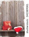 Christmas Gift Boxes And Santa...