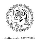 line art flowers  roses and... | Shutterstock . vector #342393005