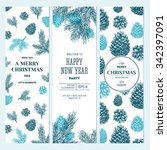pine cones banner collection.... | Shutterstock .eps vector #342397091
