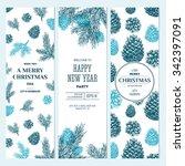 pine cones banner collection.... | Shutterstock .eps vector #342397091