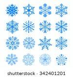 set 16 snowflakes | Shutterstock .eps vector #342401201