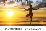 silhouette of yoga woman... | Shutterstock . vector #342411209