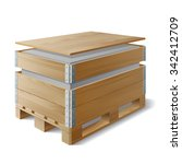 wooden box with cargo on a... | Shutterstock .eps vector #342412709