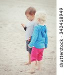 two children boy girl walking... | Shutterstock . vector #342418949