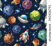 comic space with planets and... | Shutterstock . vector #342426791