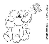 funny cartoon baby elephant... | Shutterstock .eps vector #342433019
