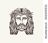 face of jesus hand drawn | Shutterstock .eps vector #342434531