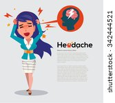 smart women get headache   ...   Shutterstock .eps vector #342444521