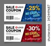 gift voucher template  set of... | Shutterstock .eps vector #342449687