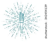 spark plug with vintage sun...   Shutterstock .eps vector #342454139