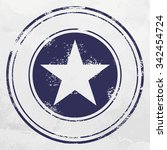 blue stamp with five pointed... | Shutterstock .eps vector #342454724