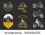 Set Vector Vintage Scooter And...