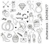 hand drawn vector wedding set | Shutterstock .eps vector #342458177