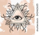 vector all seeing eye pyramid... | Shutterstock .eps vector #342462635