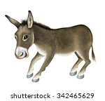 funny donkey. watercolor | Shutterstock . vector #342465629