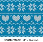 blue knitted stars and hearts... | Shutterstock .eps vector #342469361