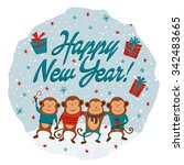 new year card with monkeys and... | Shutterstock .eps vector #342483665