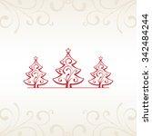 red christmas trees | Shutterstock .eps vector #342484244