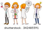 male and female scientists... | Shutterstock .eps vector #342485591