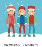winter sports and wear... | Shutterstock .eps vector #342488174