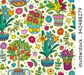 seamless pattern doodle plants... | Shutterstock .eps vector #342488279