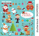 vintage christmas poster design ... | Shutterstock .eps vector #342490301