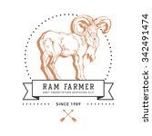 vintage hand draw ram label.... | Shutterstock .eps vector #342491474