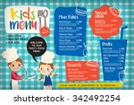 cute colorful kids meal menu... | Shutterstock .eps vector #342492254
