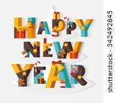 happy new year typographic... | Shutterstock .eps vector #342492845