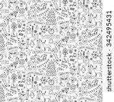 winter hand drawn seamless... | Shutterstock .eps vector #342495431