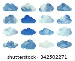 polygon clouds. vector set of... | Shutterstock .eps vector #342502271