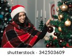 beautiful girl in a christmas... | Shutterstock . vector #342503609