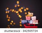 wooden red sled full of gift... | Shutterstock . vector #342505724