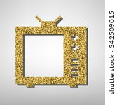 tv sign illustration. golden... | Shutterstock . vector #342509015