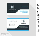 Modern Creative and Clean Business Card Template in Blue and Black Colors with Logo. Flat Style Vector Illustration | Shutterstock vector #342511535