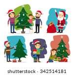 merry christmas. decorating the ... | Shutterstock .eps vector #342514181