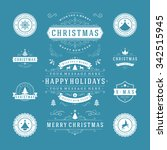 christmas labels and badges... | Shutterstock .eps vector #342515945