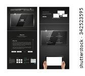 dark metal and glass business...   Shutterstock .eps vector #342523595